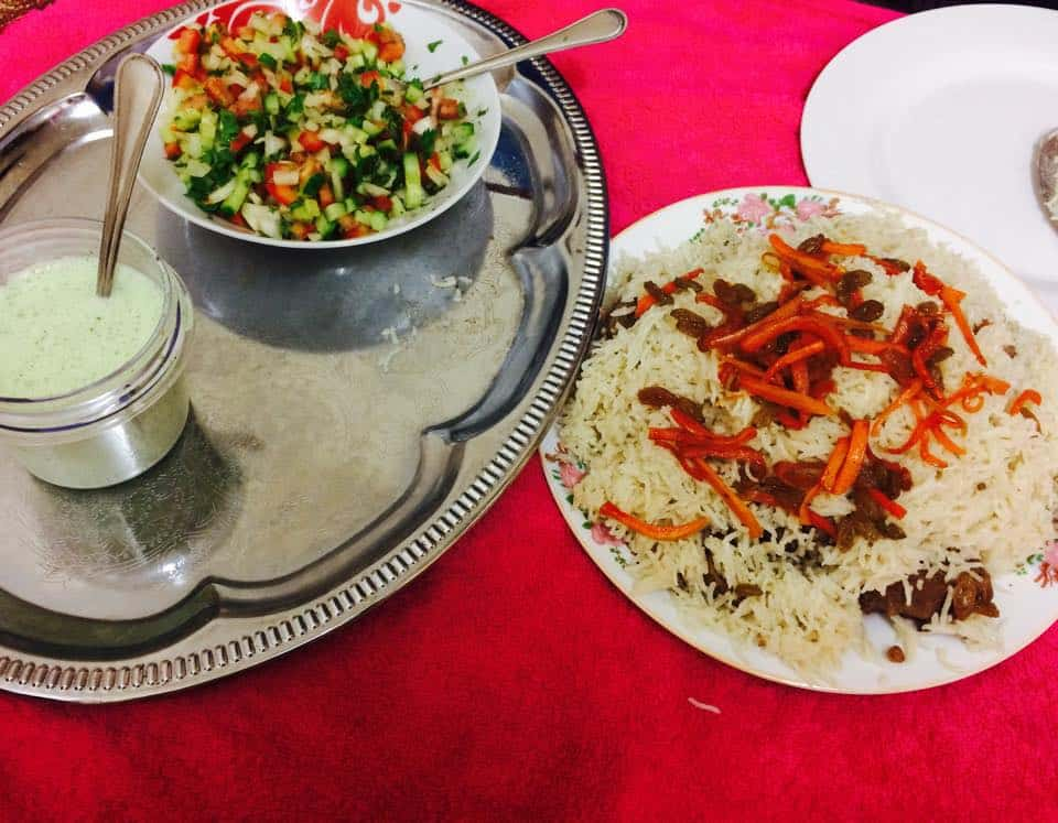Served with raita and a 'kachumbar' salad on a might bright spread!