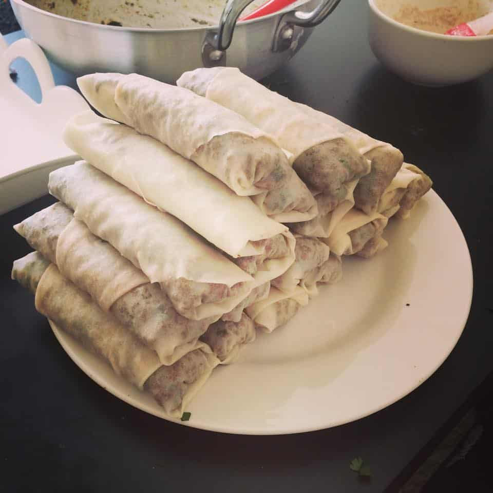 How to Wrap Spring Rolls - FatimaCooks.net
