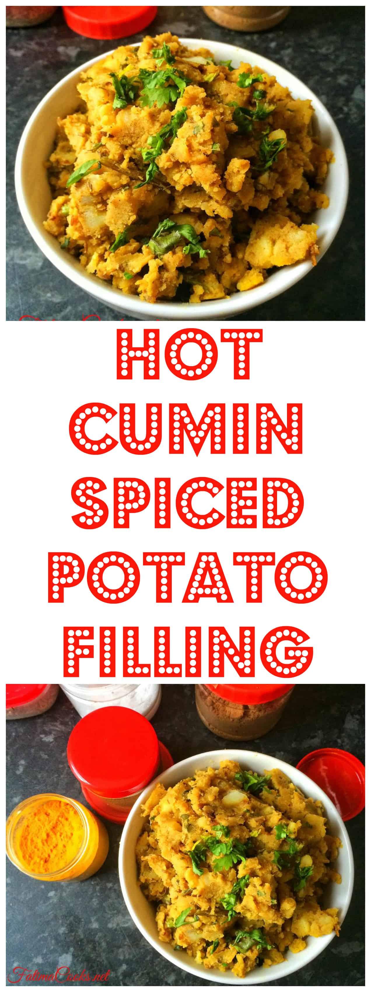 Hot Cumin Spiced Potato Filling for samosas, spring rolls, parathas etc @ FatimaCooks.net